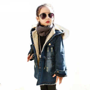 Fashion Plus Velvet Thick Hooded Girl Denim Jackets - Chilly Baby