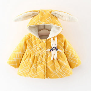 Cute Rhombus Prints Thick Coats For Girls - Chilly Baby