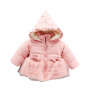 Fleece Lace Bow Coats  For Girls - Chilly Baby