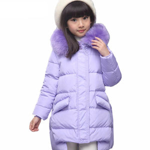 Thick Duck Fur Hooded Warm Jacket For Girls - Chilly Baby