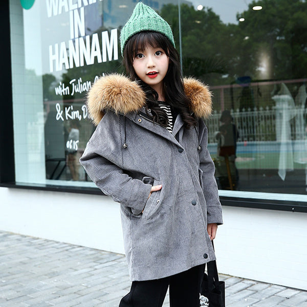 Detachable fur collar jacket for girls - Chilly Baby
