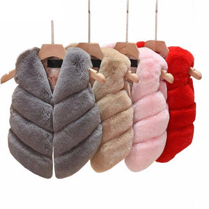 Girls Fur Vest Coats - Chilly Baby