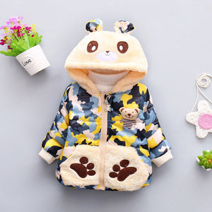 Camouflage Bear Hooded Jacket For Girls - Chilly Baby