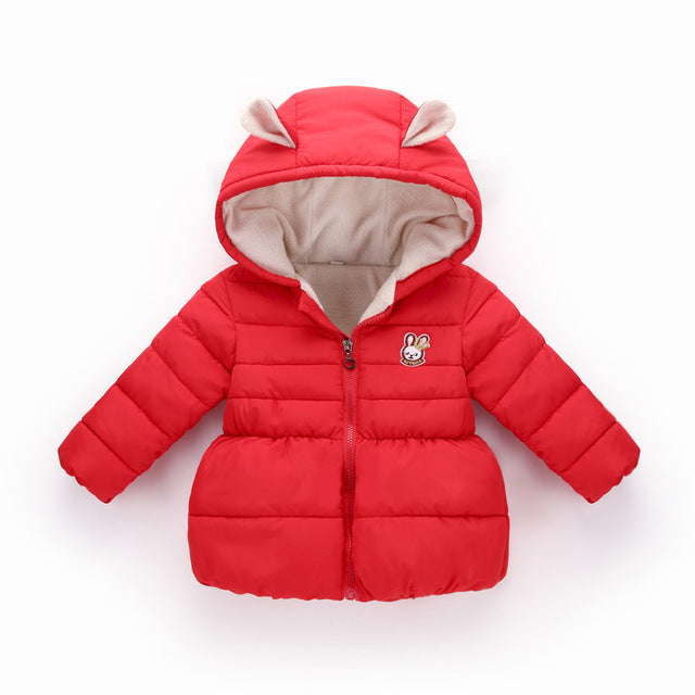 Hooded Cotton Outerwear Jacket For Girls - Chilly Baby