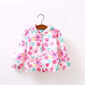 Floral Print Long Sleeve Casual Outerwear Jacket For Girls - Chilly Baby