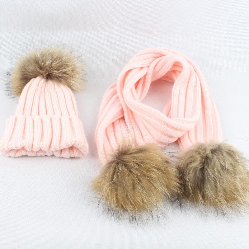 Baby Hat Scarf With Raccoon Fur Balls - Chilly Baby