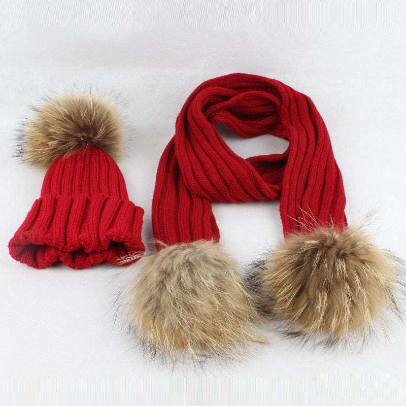 Raccoon Fur Balls Baby Hat Scarf set - Chilly Baby