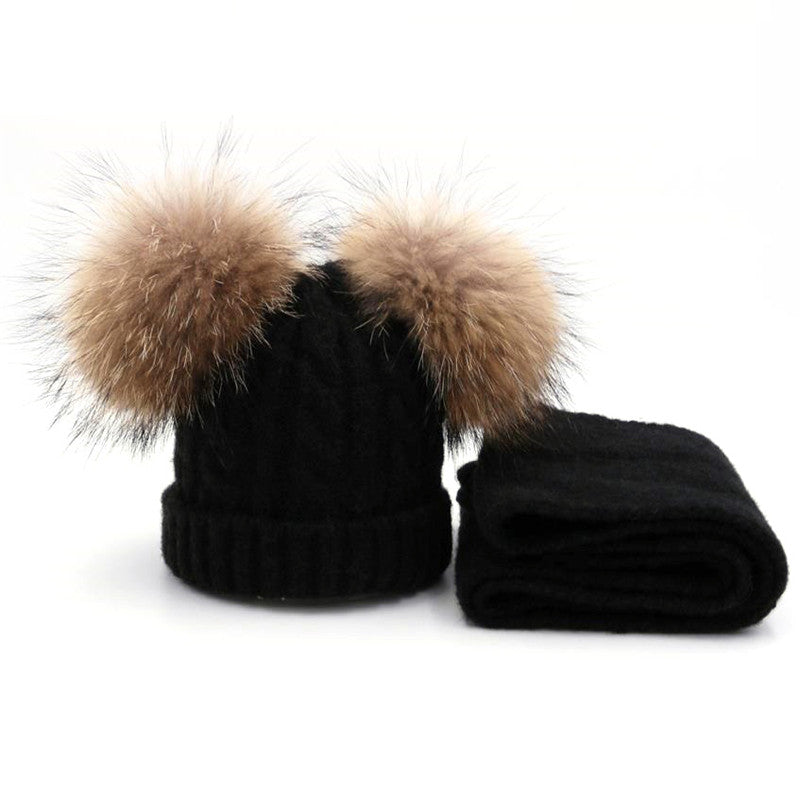 Wool Knit Baby Cap Scarf set with Raccoon Fur Balls - Chilly Baby
