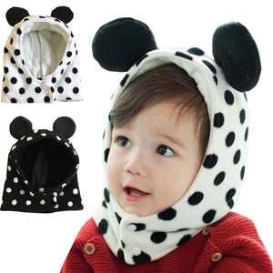 Cute Ear Dots Soft Fleece Baby Hats with Scarf - Chilly Baby