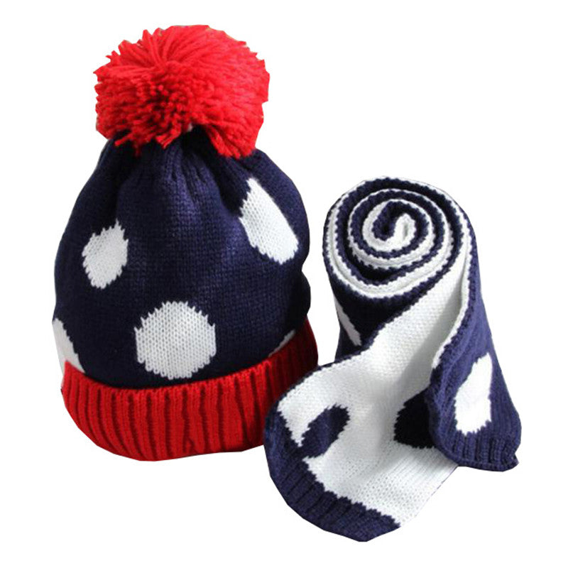New Fashion Dots Kids Hat Scarf - Chilly Baby