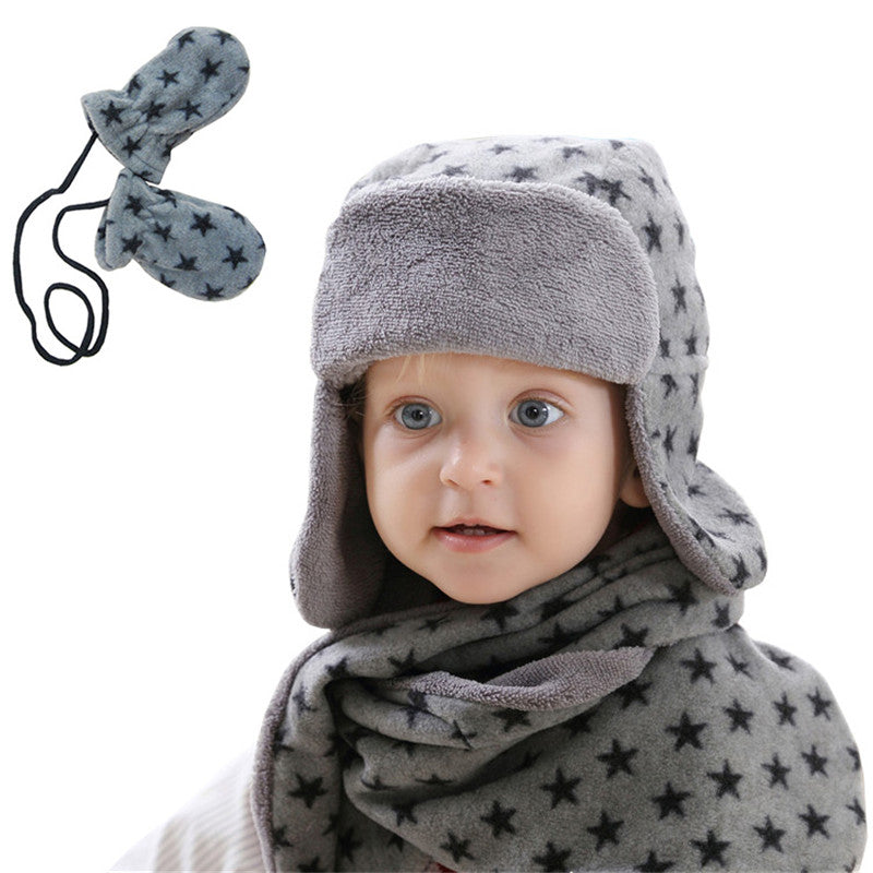 Cute Stars Warm Plush Kids Hat Scarf set - Chilly Baby