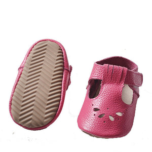 Genuine Leather Hollow Water Drops Design Shoes - Chilly Baby
