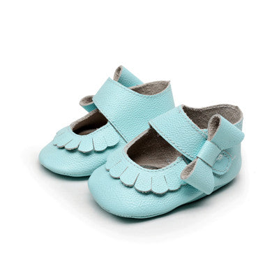 New Floral Genuine Leather Non-slip side bow Shoes - Chilly Baby