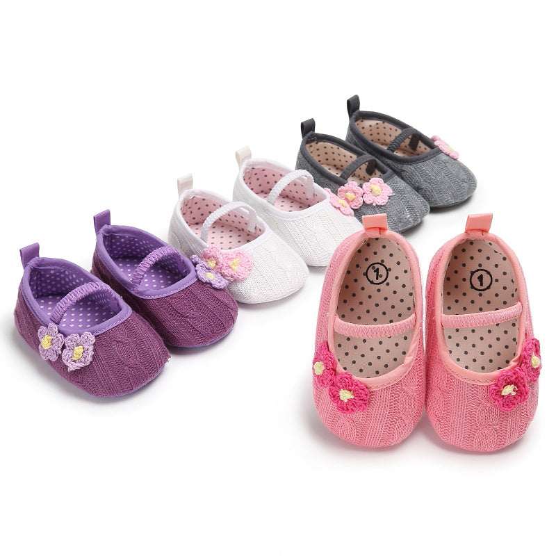 Flower Knitted Infant Newborn Baby Shoes - Chilly Baby