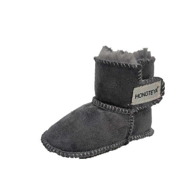 High-top Faux fur baby Leather boots - Chilly Baby
