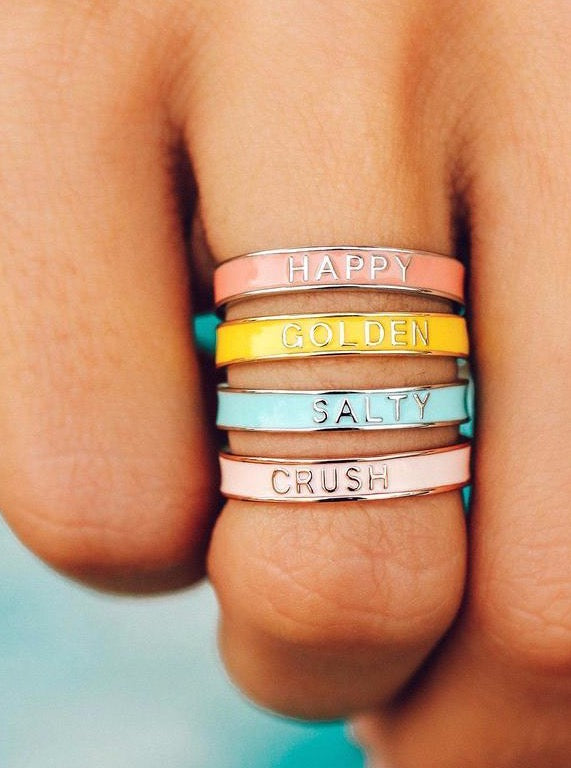 SALTY ENAMEL WORD RING
