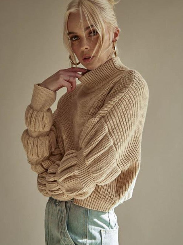 Donut Sleeve Sweater in Beige