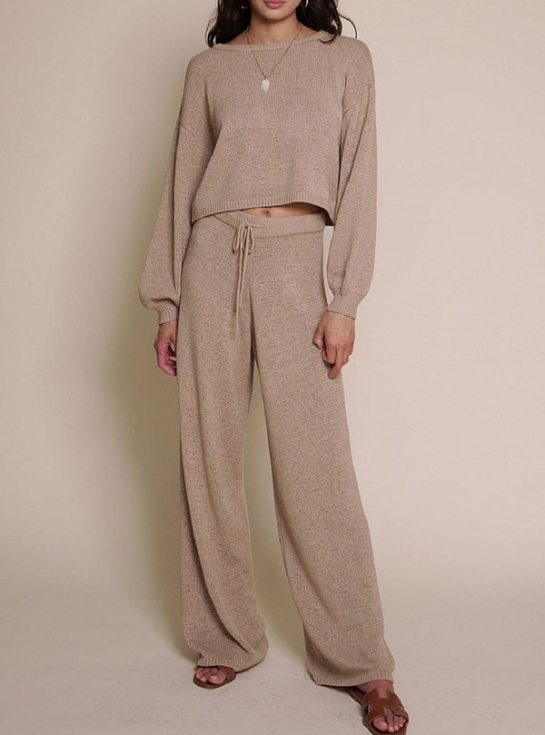 COZY CREW SWEATER SET IN TAUPE