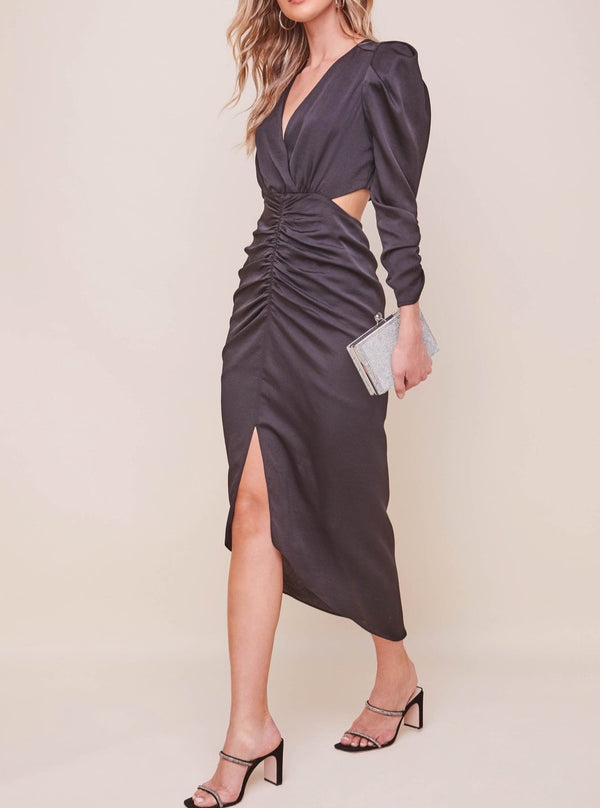 JAYLA RUCHED CUTOUT DRESS BLACK