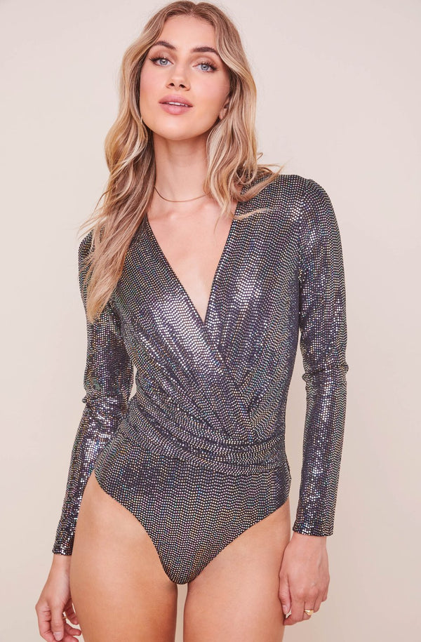 Tinsley Long Sleeve Wrap Bodysuit Black Disco