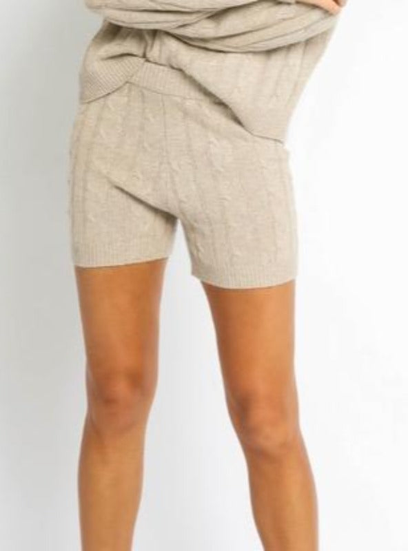 HIGH WAIST CABLE KNIT SHORTS