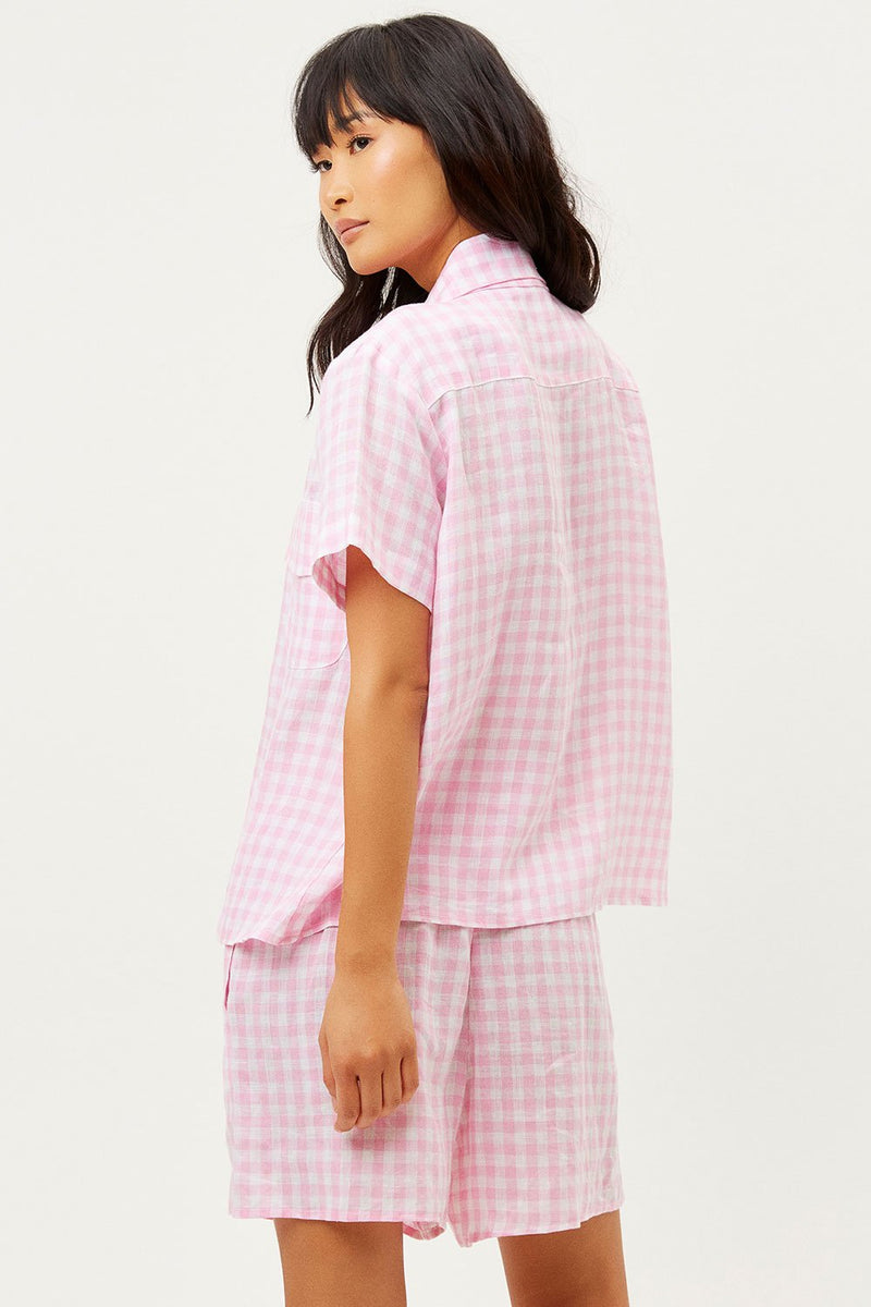 LOU BUTTON UP TOP IN PINK PICNIC