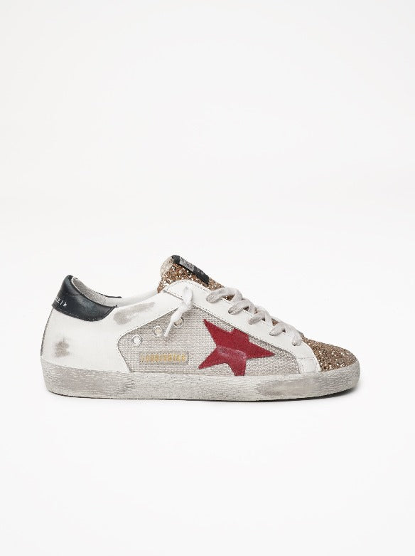 Superstar Net and Leather Upper Suede Star Glitter Toe