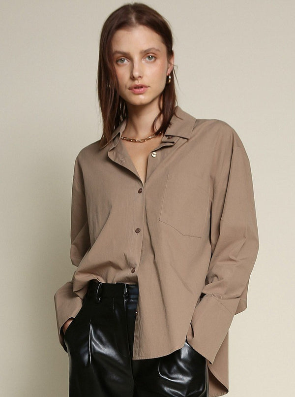 BUTTON DOWN SHIRT IN BROWN