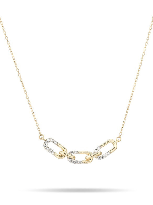 Pavé Interlocking Link Curve Necklace