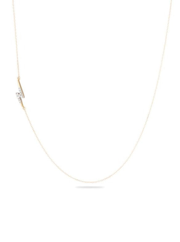 Tiny Pavé Lightning Bolt Necklace