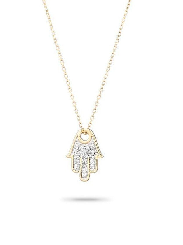 Solid Pave Hamsa Necklace