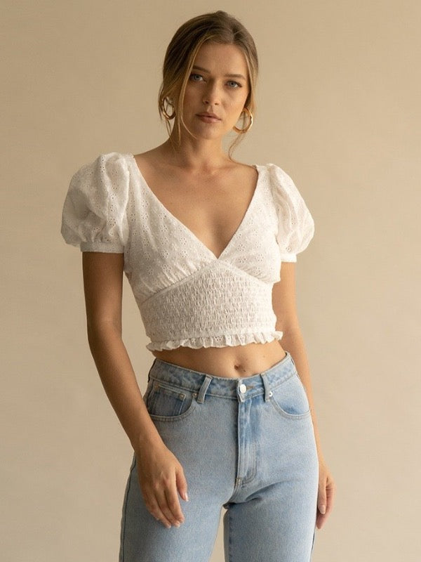 Crochet Puffy Sleeve Top White