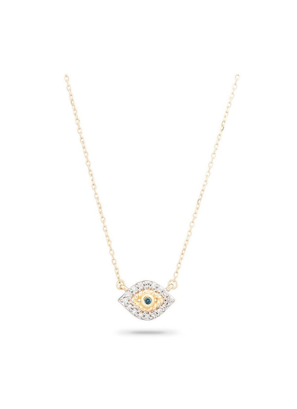 Super Tiny Pave Evil Eye Necklace