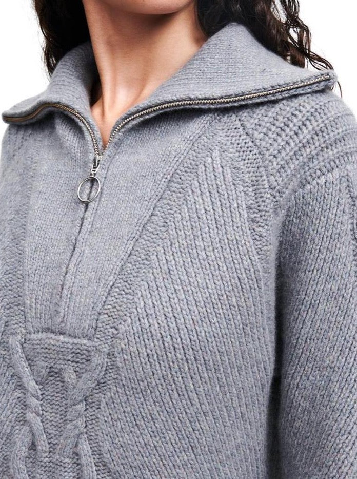 Quarter Zip Cable in Marled Grey