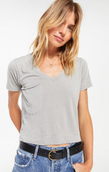 CLASSIC SKIMMER CROP TEE IN DUSTY SAGE