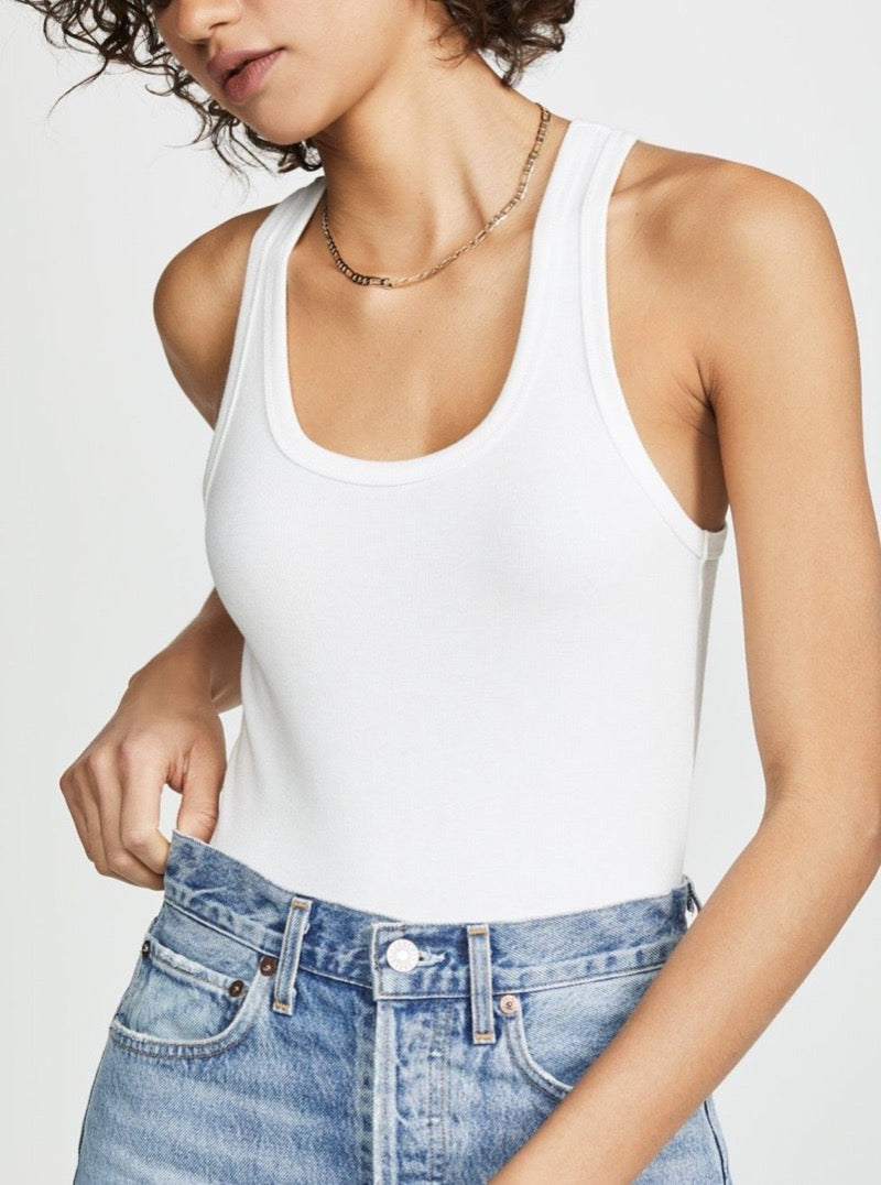 RIB TANK BODYSUIT IN WHITE
