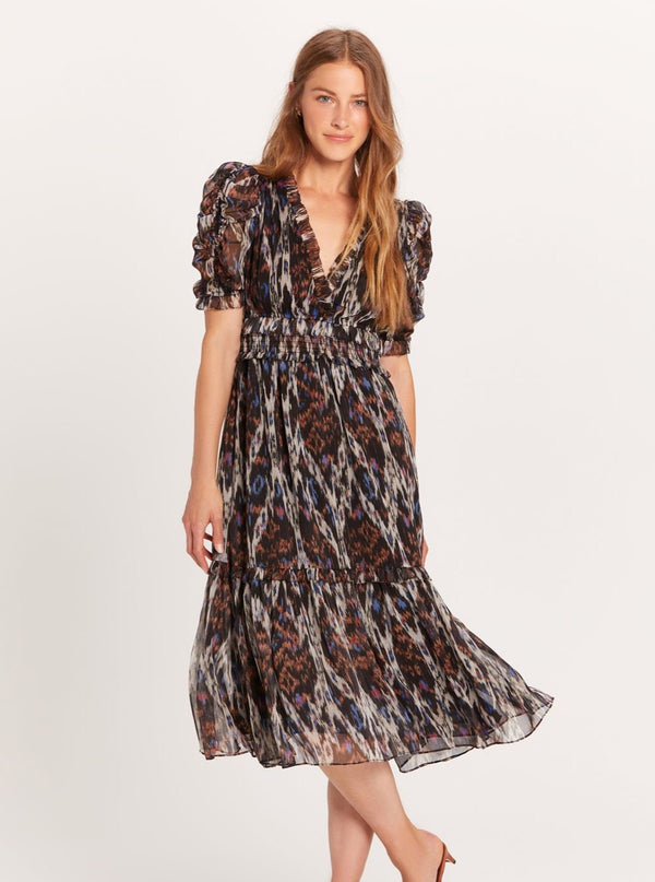 Lurex Ikat Puff Sleeve Dress