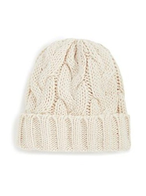 FISHERMAN CABLE HAT IN IVORY