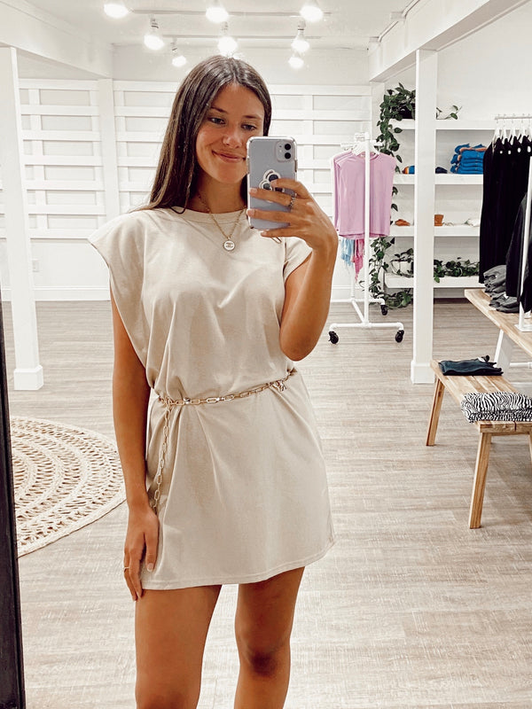 Nude Muscle Shoulder Dress