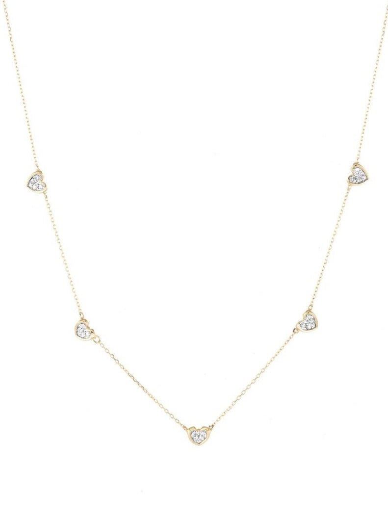 5 Pavé Folded Heart Necklace