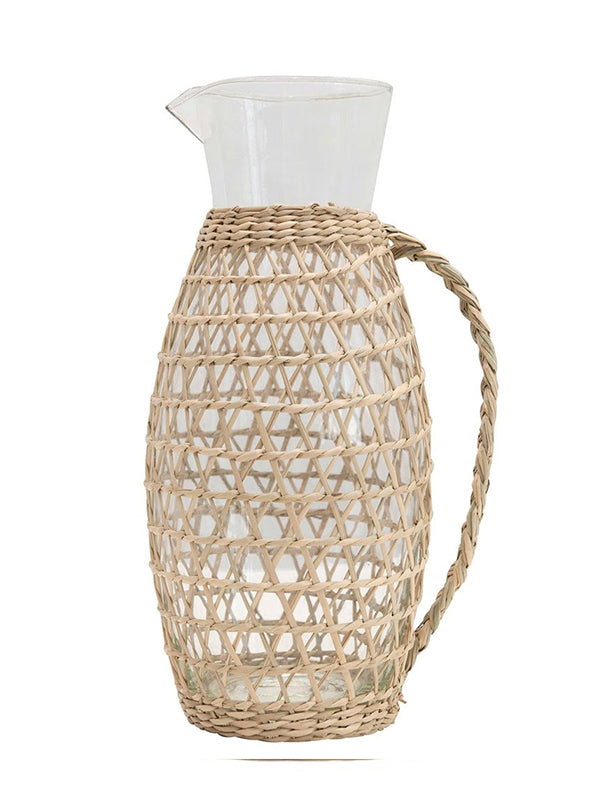 GLASS PITCHER WITH SEAGRASS