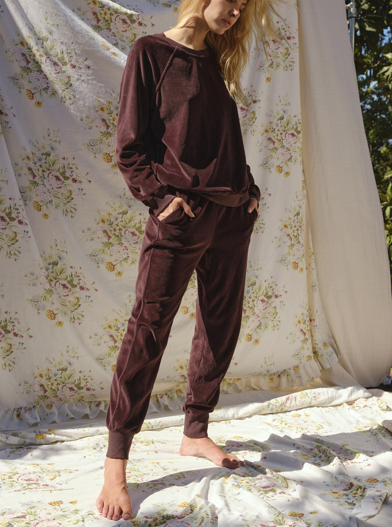 VELOUR SWEATPANT IN MAHOGANY