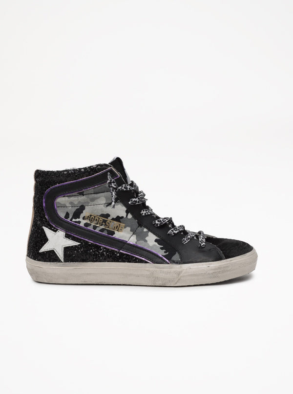 Slide Leopard Ripstop and Glitter Upper Leather Star
