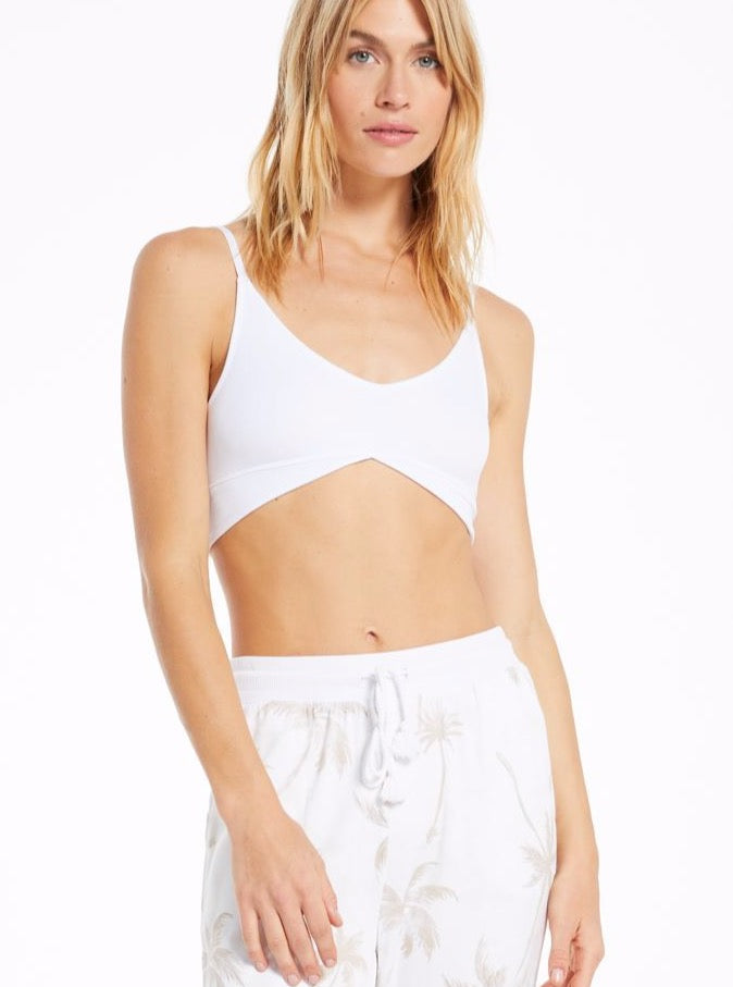 UP ALL NIGHT RIB BRA IN WHITE