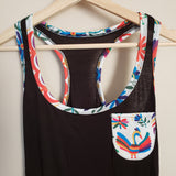 Mexican  Otomi Bird Tank Top in Black - The Little Pueblo