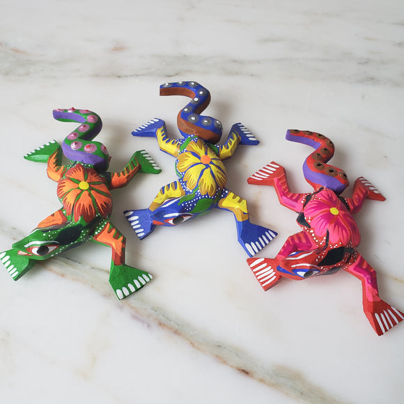 Alebrije Lizard Mini Wood Carving New - The Little Pueblo