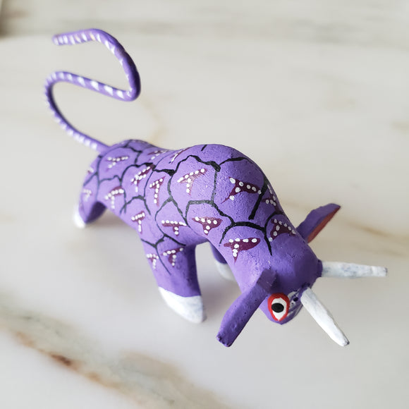 BULL Purple Alebrije Oaxacan Hand Painted Wood Carving - The Little Pueblo