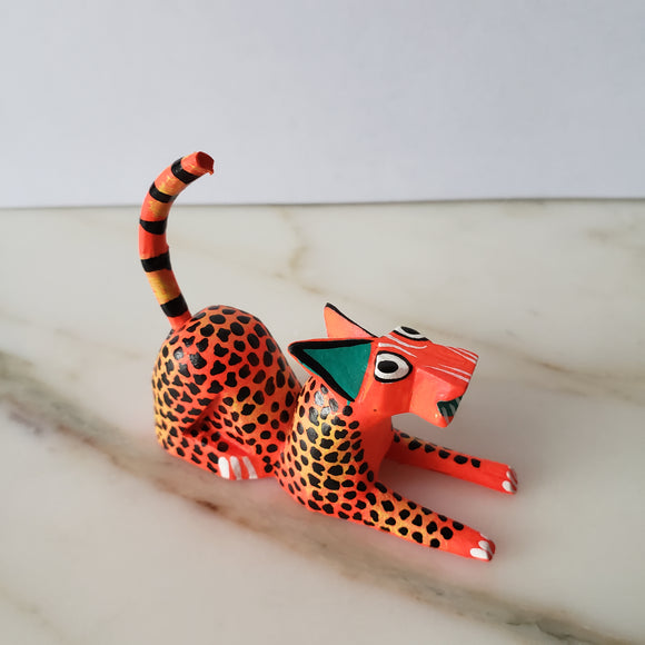 Mexican Alebrije  Mini Jaguar Wood Carving Oaxaca Art Hand Painted - The Little Pueblo