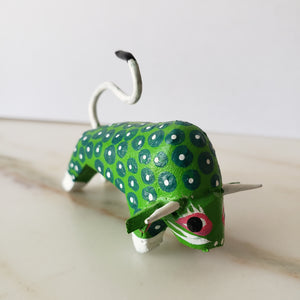 BULL Green Alebrije Oaxacan Hand Painted Wood Carving - The Little Pueblo