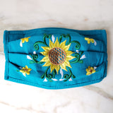 Sunflower Embroidered Face Mask - The Little Pueblo